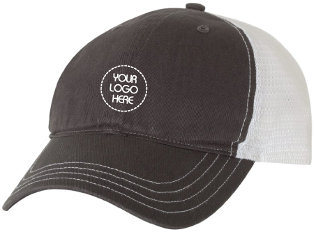 Garment-Washed Trucker Hat- Charcoal Front