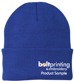 best selling knit cuff beanie by bolt printing & embroidery style # cp90