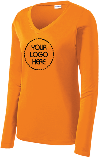 Ladies Long Sleeve V-Neck Performance Shirt | 100% Polyester Competitor Tee