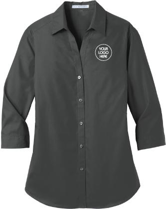 Ladies Three Quarter Sleeve Button Down Shirt | Oxford Style Shirt