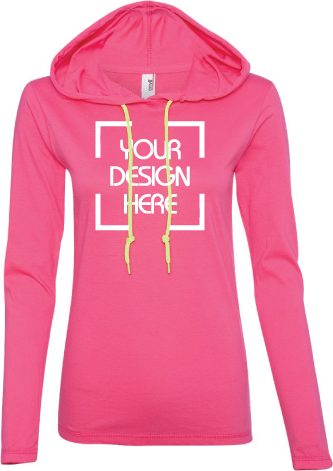 Ladies Soft Long Sleeve Hooded Shirt | Lightweight | Neon Yellow Drawcord
