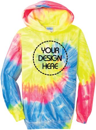 Youth Neon Rainbow Tie-Dyed Hoodie | Tie Dye Sweatshirt